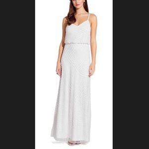 Adrianna Papell Art Deco White Beaded Dress